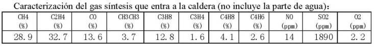 Caracterización del Gas síntesis