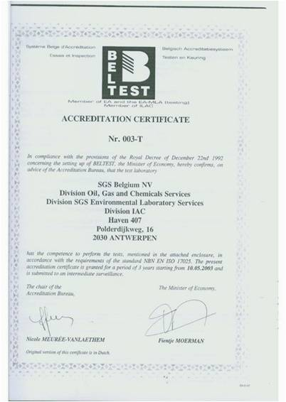 Certificación de la agencia SGS