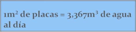1m2 de placas = 3,367m3 de agua al día