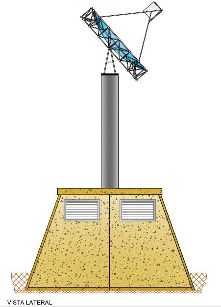 Planta Torre Fotovoltaica - Vista Lateral